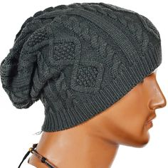 b0b274ee24d Men Cable Knit Beanie Cap Winter Skull Ski Hat - Dark Gray - C711RY82CTP
