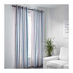 IKEA - MOSSFLOX, カーテン1組, , 光を取り入れながら、強い日差しをやわらげます上部のハトメにカーテンロッドを通して、カーテンを直接つり下げられます
