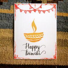Set of 3 Handmade Diwali cards with envelopes by HandmadeKalaa
