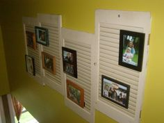 Hang photos from painted shutters... lots of pop--not too many holes in your walls