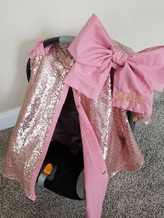 Carseat Cover Elegant Rose Gold Sequin Mauve Cover with Large bow carseat canopy car seat cover car seat canopy Name NOT included by fashionfairytales on Etsy Baby Girl Car, Baby Canopy, Baby Mine, Car Covers, Baby Needs, Little Babies, Baby Car Seats, Sequins, Just For You