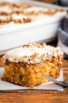 Sheet Cake Recipes, Easy Cake Recipes, Easy Desserts, Baking Recipes, Dessert Recipes, Sheet Cakes, Frosting Recipes, Carrot Sheet Cake Recipe, Carrot Cake Recipe From Scratch