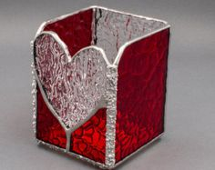 Ruby Red Glass Stained Glass Heart Votive Candle Holder by Kolor Waves Glass