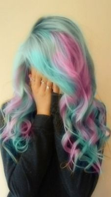 pretty pastel pink and mint green hair <3