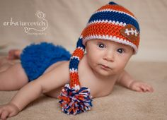 Florida Gators Striped Pixie Hat, Orange and Blue Baby Hat, Football Boy Photo Prop. $27.00, via Etsy.