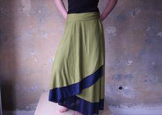 Long Wrap Skirt Jersey Reversible Skirt Green &Navy Gypsy Skirt Hippie Long Boho Skirt Wrap Asymmetrical 2 Color Skirt Fairy Maxi Wrap Skirt