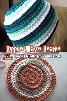 Ripple Wave Beanie - Free Crochet Pattern & video tutorials - by Meladora's Creations