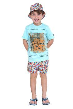 Camiseta de meia malha estampada. Referência: 1284 Conjunto de shorts d'água e chapéu pescador estampados. Referência: 1295