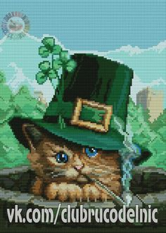 VK is the largest European social network with more than 100 million active users. St Pats, Cross Stitch Animals, Counted Cross Stitch Patterns, St Patrick, Cats And Kittens, Cat Lovers, Disney, Photo Wall, Fictional Characters
