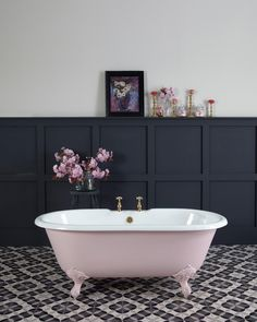 Badezimmer Loved styling this 'petite millbrooke' pink bath painted in Mylands limited edition 'Blus Bad Inspiration, Bathroom Inspiration, Bathroom Ideas, Bathroom Colors, Bathtub Ideas, Budget Bathroom, Bathroom Remodeling, Pink Bathroom Tiles, Bathroom Marble