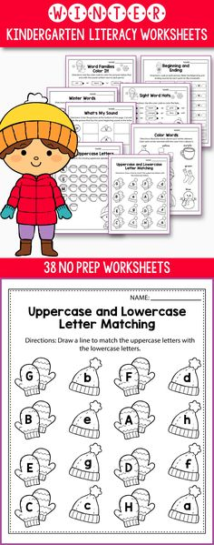 No Prep Winter Literacy activities and worksheets for kindergarten,  preschool  and first grade students.  Kids will love learning  uppercase and lowercase letters and practicing beginning sounds with games featuring mittens, snowmen, penguins and other adorable winter elements. These resources don't require any preparation, just print and go, so you'll have enough time to enjoy the winter holidays.