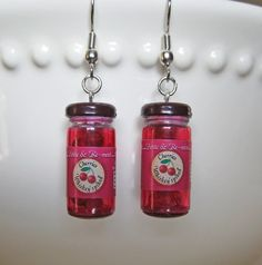 I would never wear these but too cute...just had to pin #cherryjarearrings