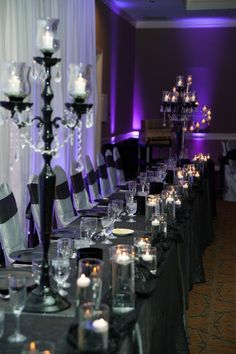 Silver, Black and Purples wedding table decor