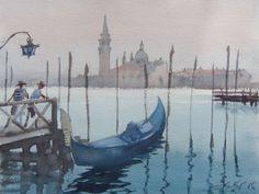 View on San Giorgio Maggiore... (2016) Watercolours by Goran Žigolić   Artfinder