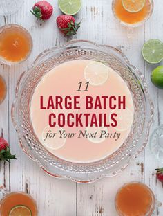 Large Batch Cocktails For Your Party - New Year's Eve Cocktails - Serving mixed drinks at a party can be tricky business. You can hire a bartender, but that's expensive. You can stand there and mix drinks yourself, but then you're working all night. You can leave out a bunch of mixers and liquor out, but that's going to end with all the mixers running out within 30 minutes of your first guest's arrival and a bottle of vodka spilled somewhere. There is only one great solution, and that's…