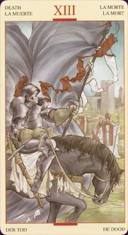 The Tarot of the Holy Grail: is inspired by the legends of the Grail, the Knights Templar, & the Crusades. It's a very masculine deck of war  &  religion.Women appear infrequently./by Lorenzo Tesio, Stefano Palumbo/Lo Scarabeo 2006