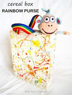 Cardboard Box Rainbow Purse - upcycling cereal box for play