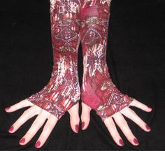 Outback Boho Arm warmers bohemian fingerless gloves tribal indian woods ethnic gothic goth maroon red burgandy brown white beige orange blue. $28.00, via Etsy.