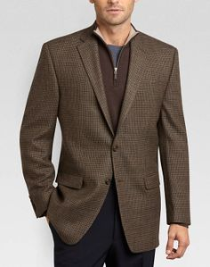 Lauren by Ralph Lauren Taupe Check Classic Fit Sport Coat