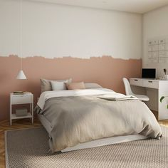Painting the bedroom wall in two colors is the right way for a modern decor. Bedroom Inspo, Bedroom Decor, Bedroom Wall Colors, Interior Decorating, Interior Design, Bed Wall, Dream Bedroom, Modern Decor, Room Inspiration