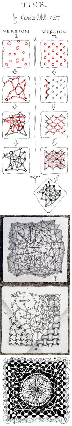 Tink. Zentangle Pattern with Variations by Carole Ohl, CZT. Examples by Molly, Rick Roberts and Carole Ohl.