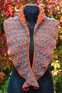 Proudly introduce two color Brioche Stitch Shawl.
