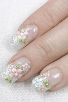 100 photos of original nail art and gel manicure for the wedding day. Lots of ideas and advice on the most beautiful wedding nails Great Nails, Fabulous Nails, Cute Nails, Gorgeous Nails, Bridal Nails, Wedding Nails, Prom Nails, Nail Designs Spring, Nail Art Designs