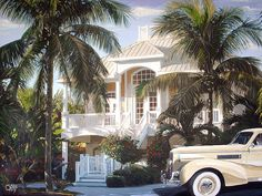 Parrots and Palms by Maggie Schnabel on Etsy