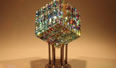 Chroma Cube Fine Art Glass Contemporary Sculpture by glass artist Jack Storms 2
