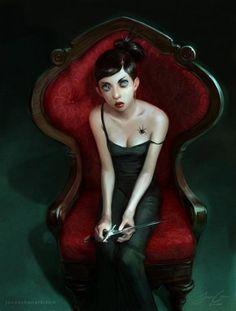 Stunning Fantasy Illustrations by Jason Chan Character Portraits, Character Art, Character Design, Divas, Jason Chan, Dark Gothic Art, Dark Art, Digital Art Gallery, Photoshop