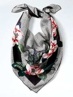Floral Silk Medium Square Scarf