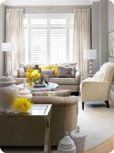 gray, cream and yellow living room