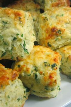 Herbed Cheese Puffs - Filled with a savory cheese and herb mixture, these puffy biscuits are simple, delicious and make a great party appetizer