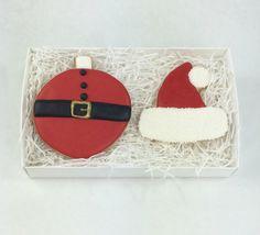 Santa Christmas Cookie Gift Set - Santa Hat - Sugar Cookies - Ornament by PSSweet on Etsy