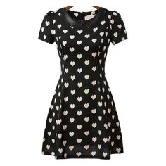 Black Short Sleeve Hearts Print Dress ❤ liked on Polyvore featuring dresses, heart print dress, short sleeve dress, heart pattern dress and short-sleeve dresses