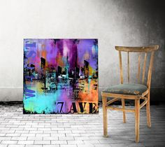 36 Large Abstract Urban Painting Art by ModernArtHomeDecor on Etsy