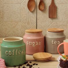 Kitchen organisers | Pretty kitchen decor ideas | Organisers | Coffee jars | Sugar jars | Home decor ideas | Source: thewishingchair | #kitchen #decorideas #coffeetable #jars #homedecor #decorideasaccentsaccessories #diyhomedecor #newhomes #house #newhomekitchendesigns #decorinspiration #kitchenstorage  #homeorganization Kitchen Organization, Kitchen Storage, Kitchen Decor, Kitchen Design, Tea And Coffee Jars, Sugar Jar, Tea Canisters, Farmhouse Decor, Diy Home Decor