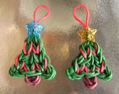 rainbow loom christmas | Two Christmas Tree Rubber Band Charms For Rainbow Loom Bracelet