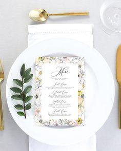 Modern Wedding Menu Printed Watercolor Floral Wedding Menu