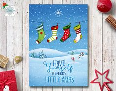 Merry Christmas Card Printable Holiday Greeting by NopiArtStudio