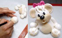 Teddy Bear Fondant Figure/Topper #1 - How To. Tutorial by CakesStepbyStep.