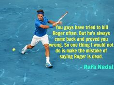 This is awesome - Rafa Nadal's take on Roger Federer's comeback potential. WELL SAID RAFA