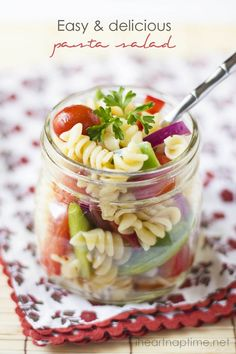 Delicious and EASY pasta salad. A dish the whole family loves!