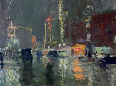 Charles Hoffbauer  New York on a Rainy Night