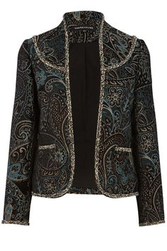 This lined jacket features a collarless neckline, open front, boxy cut, cropped sleeves and two front pockets; finished in an all-over paisley, tapestry design. Length of blazer, from shoulder seam to hem, 53.5cm approx. Height of model shown: 5ft 10 inches/178cm. Model wears: UK size 10.