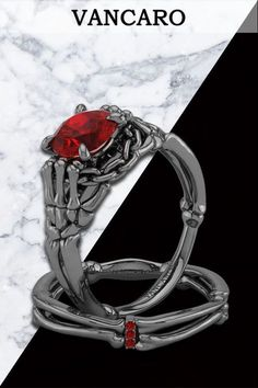 Gothic Style Black Skeleton With Ruby Stone Designer Ring Set