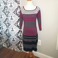 SWEATER DRESS Shades of GRAY with CRANBERRY and BLACK stripes. Curve hugging with 3/4th length sleeves. Hits at just above the knee. Junior size LARGE. Derek Heart Sweaters