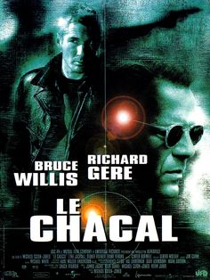 """The Jackal (1997) R  -  An imprisoned IRA fighter is freed to help stop a brutal, seemingly """"faceless"""" assassin from completing his next job.  -   Director: Michael Caton-Jones  -   Writers: Kenneth Ross (earlier screenplay Day of the Jackal), Chuck Pfarrer (screen story}  -   Stars: Bruce Willis, Richard Gere, Sidney Poitier  -  ACTION / ADVENUTRE / CRIME"""