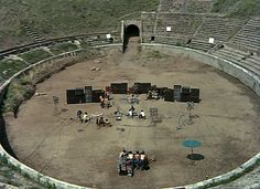 Pink Floyd - Live at Pompeii -  Between Oct 4 and Oct 7, 1971, Pink Floyd recorded six songs in the ancient Roman amphitheatre in Pompeii, Italy.  The full video (1.5 hour directors cut) is at YouTube: http://www.youtube.com/watch?v=n1yxNjU7u_8