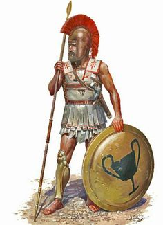A hoplite in a standard tube and yoke. He wears an Illyrian helmet, and carries a kantharos emblazoned upon his aspis, which marks him as an adherent of Dionysos. Ancient Sparta, Ancient Rome, Ancient Greece, Greek History, Roman History, Ancient History, Hellenic Army, Greek Soldier, Classical Greece